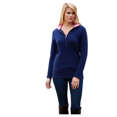 Alashan 1/2 Zip Mock Neck Womens Cashmere Pullover