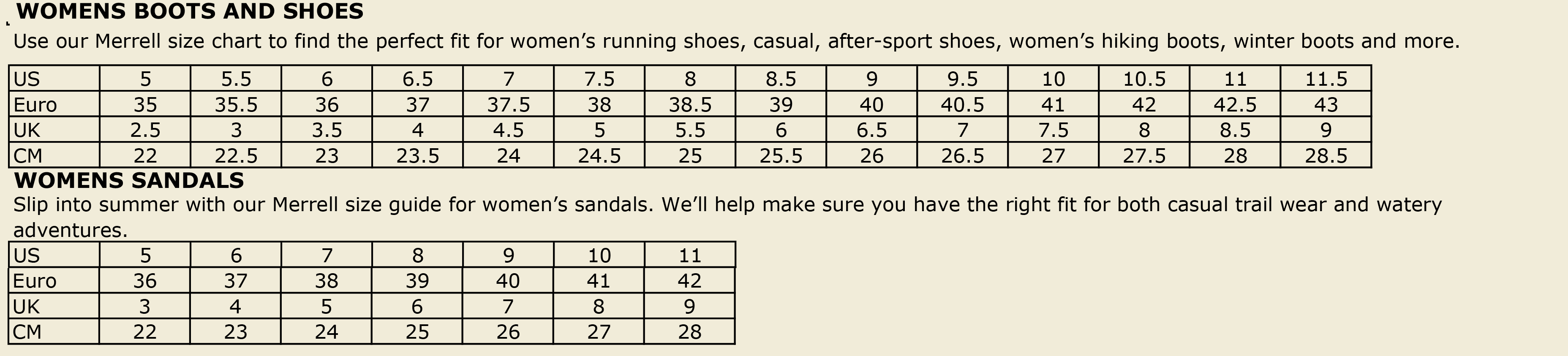 Merrell Womens Footwear Sizing