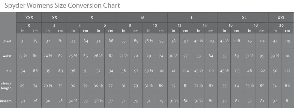Spyder Womens Size Chart