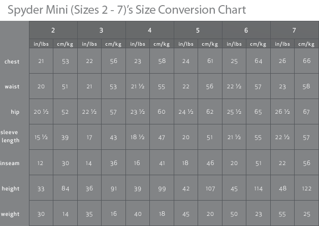 Spyder Mini Preschool Sizing Chart